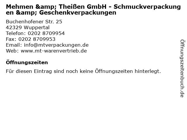 Mehmen & Theißen GmbH - Schmuckverpackungen & Geschenkverpackungen in Wuppertal: Adresse und Öffnungszeiten