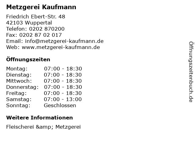 Metzgerei Kaufmann in Wuppertal: Adresse und Öffnungszeiten