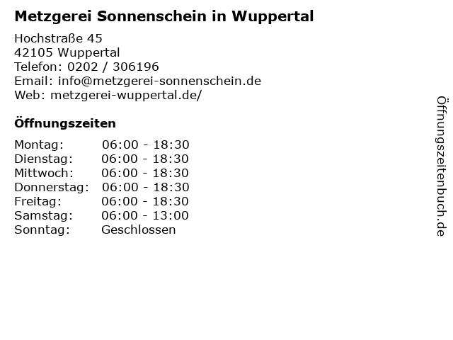 Metzgerei Sonnenschein in Wuppertal in Wuppertal: Adresse und Öffnungszeiten