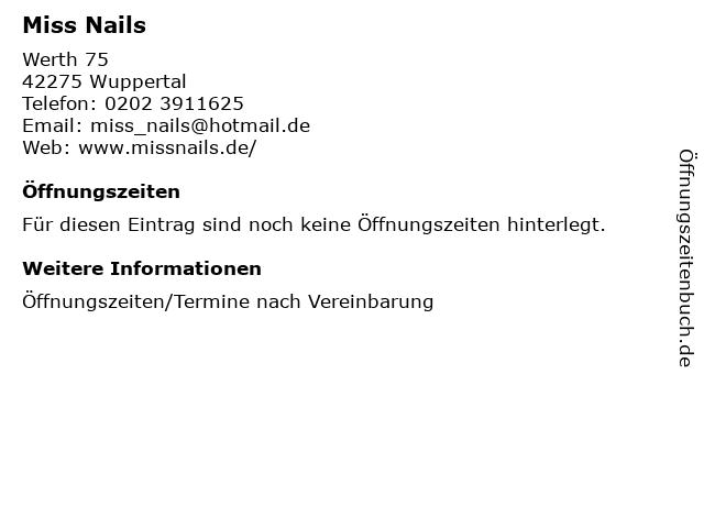 Miss Nails in Wuppertal: Adresse und Öffnungszeiten