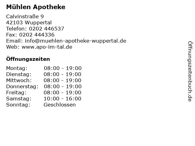 Mühlen-Apotheke in Wuppertal: Adresse und Öffnungszeiten