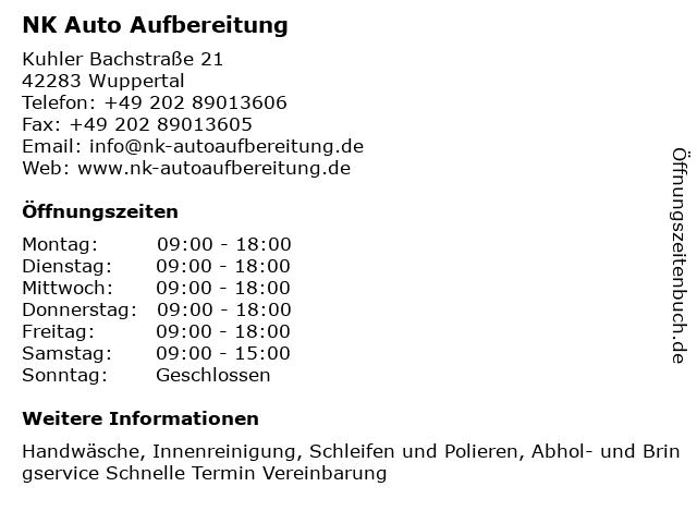NK Auto Aufbereitung in Wuppertal: Adresse und Öffnungszeiten