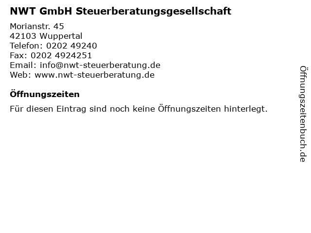 NWT GmbH Steuerberatungsgesellschaft in Wuppertal: Adresse und Öffnungszeiten
