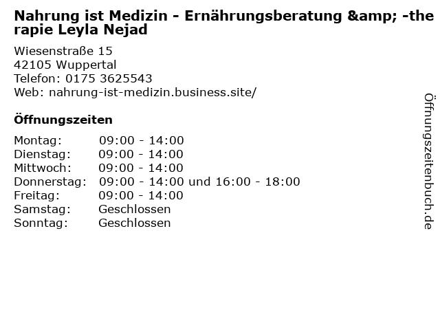 Nahrung ist Medizin - Ernährungsberatung & -therapie Leyla Nejad in Wuppertal: Adresse und Öffnungszeiten