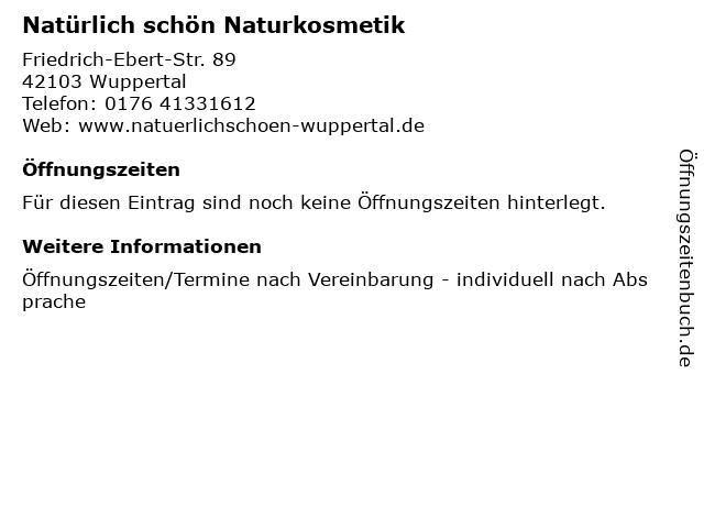 Natürlich schön Naturkosmetik in Wuppertal: Adresse und Öffnungszeiten