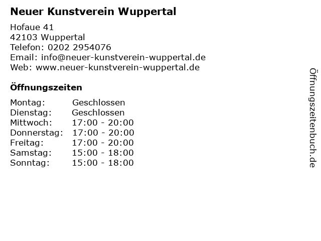 Neuer Kunstverein Wuppertal in Wuppertal: Adresse und Öffnungszeiten