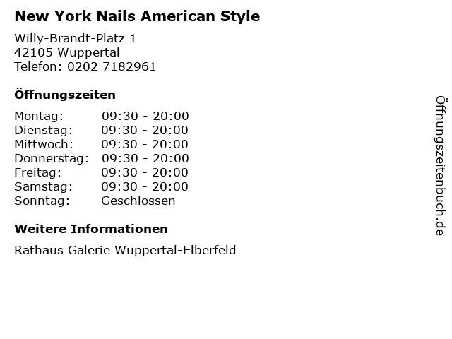 New York Nails American Style in Wuppertal: Adresse und Öffnungszeiten