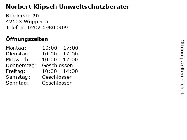 Norbert Klipsch Umweltschutzberater in Wuppertal: Adresse und Öffnungszeiten