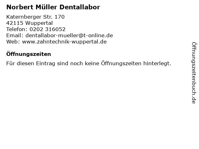 Norbert Müller Dentallabor in Wuppertal: Adresse und Öffnungszeiten