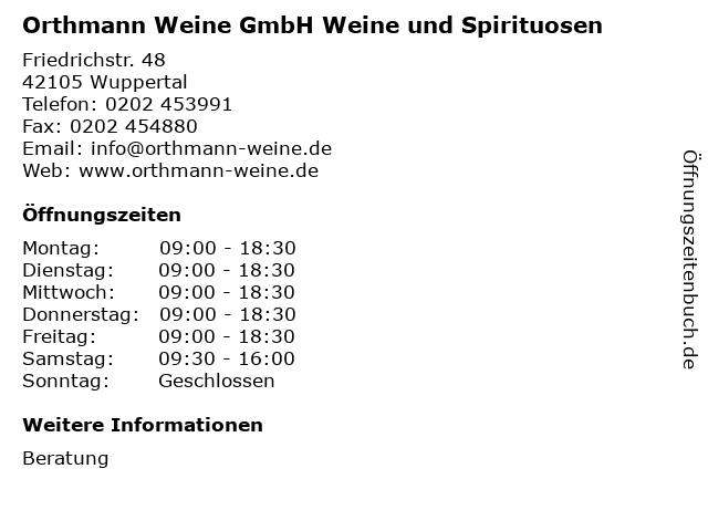 Orthmann Weine GmbH Weine und Spirituosen in Wuppertal: Adresse und Öffnungszeiten