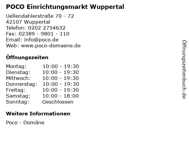 ᐅ öffnungszeiten Poco Einrichtungsmarkt Wuppertal