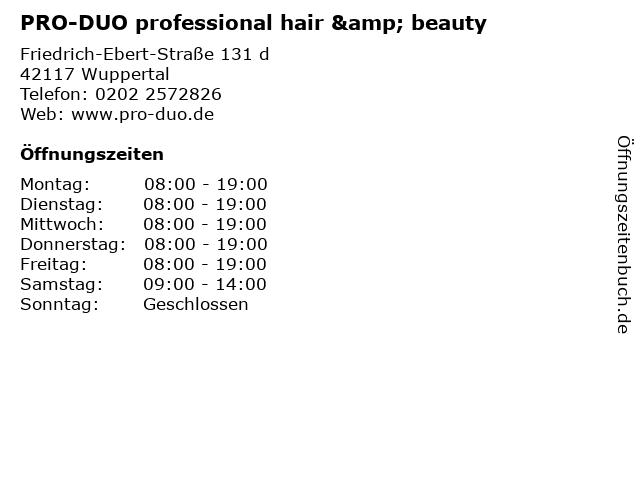 PRO-DUO professional hair & beauty in Wuppertal: Adresse und Öffnungszeiten