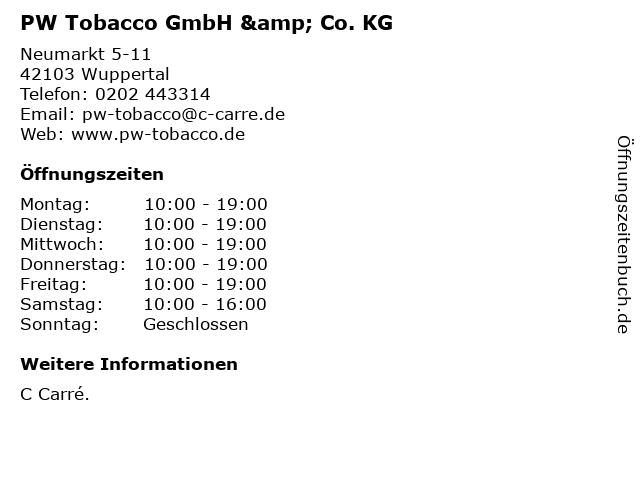 PW Tobacco GmbH & Co. KG in Wuppertal: Adresse und Öffnungszeiten