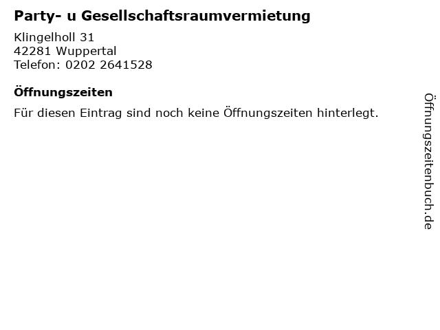 Party- u Gesellschaftsraumvermietung in Wuppertal: Adresse und Öffnungszeiten