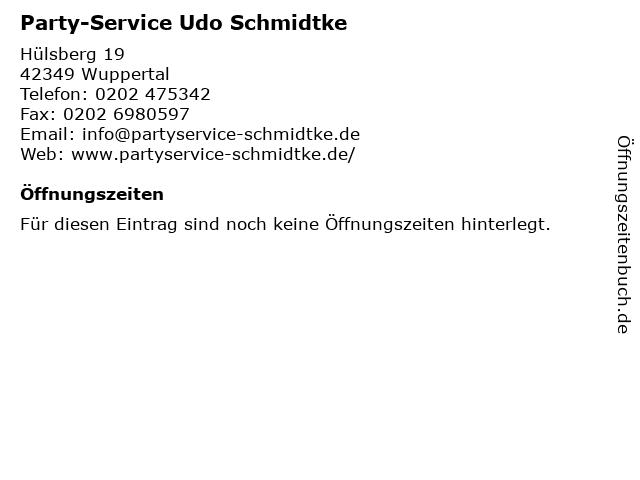 Party-Service Udo Schmidtke in Wuppertal: Adresse und Öffnungszeiten