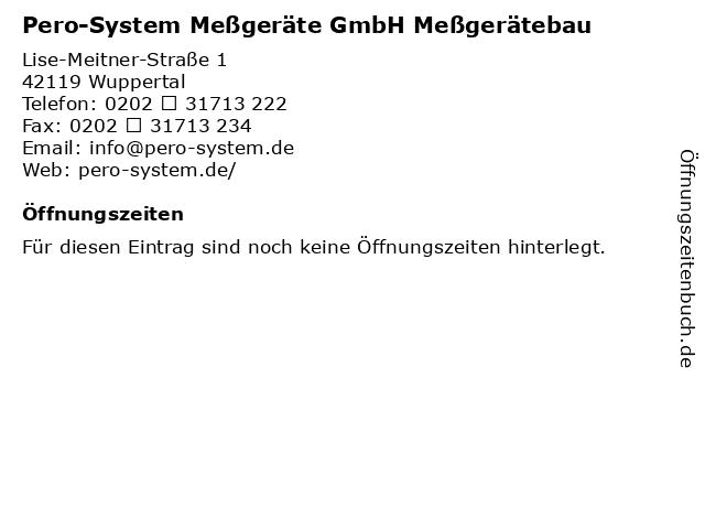 Pero-System Meßgeräte GmbH Meßgerätebau in Wuppertal: Adresse und Öffnungszeiten