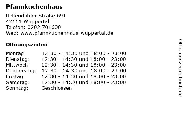 ᐅ öffnungszeiten Pfannkuchenhaus Uellendahler Straße 691 In