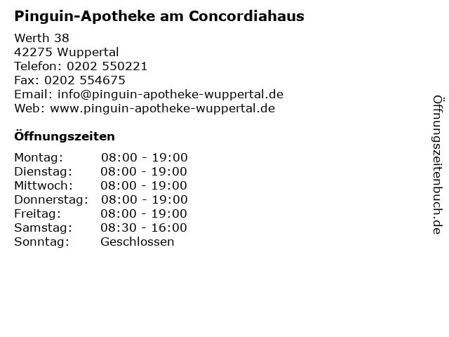 Pinguin-Apotheke am Concordiahaus in Wuppertal: Adresse und Öffnungszeiten