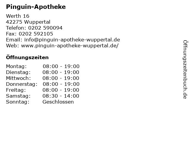 Pinguin-Apotheke in Wuppertal: Adresse und Öffnungszeiten