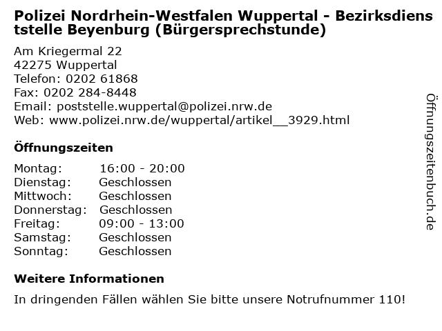 Polizei Nordrhein-Westfalen Wuppertal - Bezirksdienststelle Beyenburg (Bürgersprechstunde) in Wuppertal: Adresse und Öffnungszeiten