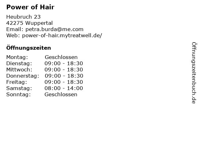 Power of Hair in Wuppertal: Adresse und Öffnungszeiten