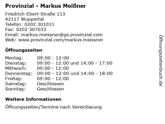 Provinzial - Markus Meißner in Wuppertal: Adresse und Öffnungszeiten