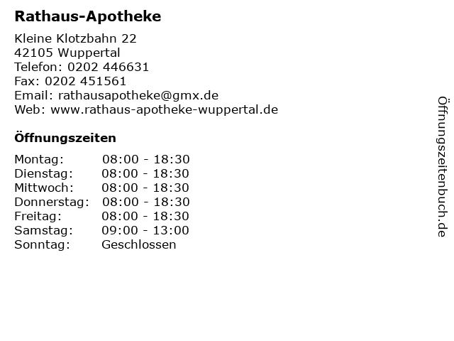 Rathaus-Apotheke in Wuppertal: Adresse und Öffnungszeiten