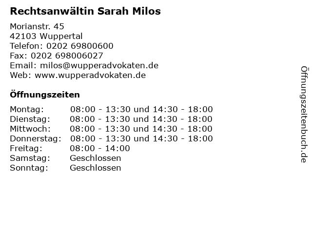 Rechtsanwältin Sarah Milos in Wuppertal: Adresse und Öffnungszeiten