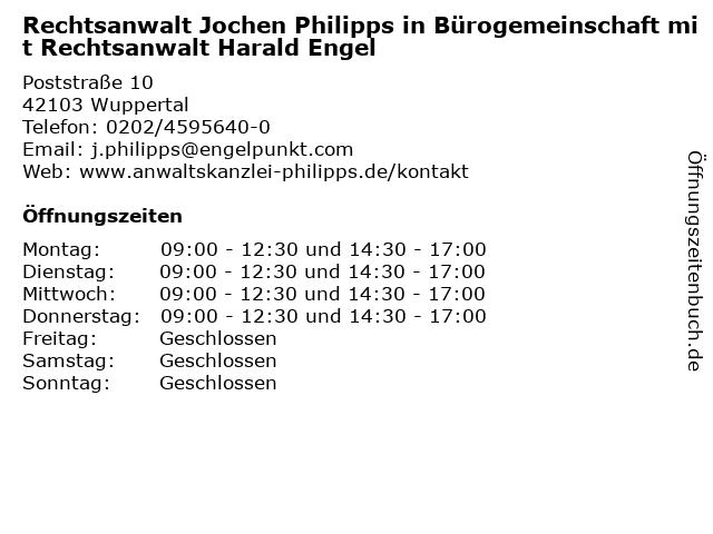 Rechtsanwalt Jochen Philipps in Bürogemeinschaft mit Rechtsanwalt Harald Engel in Wuppertal: Adresse und Öffnungszeiten