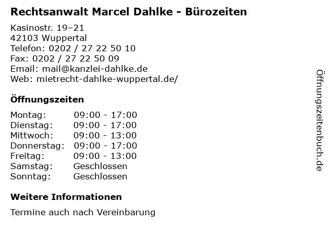 Rechtsanwalt Marcel Dahlke - Bürozeiten in Wuppertal: Adresse und Öffnungszeiten