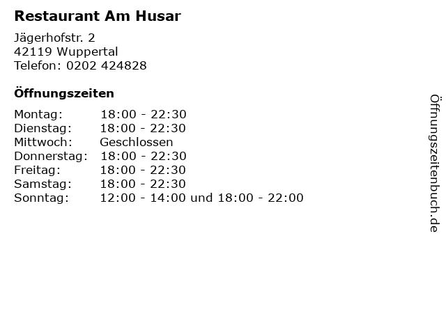 Restaurant Am Husar in Wuppertal: Adresse und Öffnungszeiten