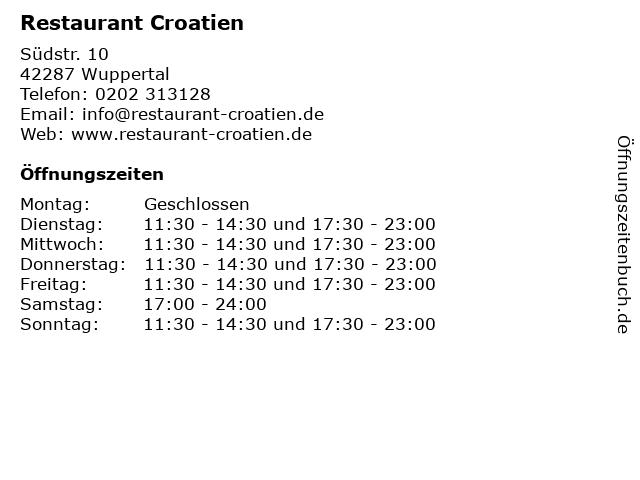 Restaurant Croatien in Wuppertal: Adresse und Öffnungszeiten
