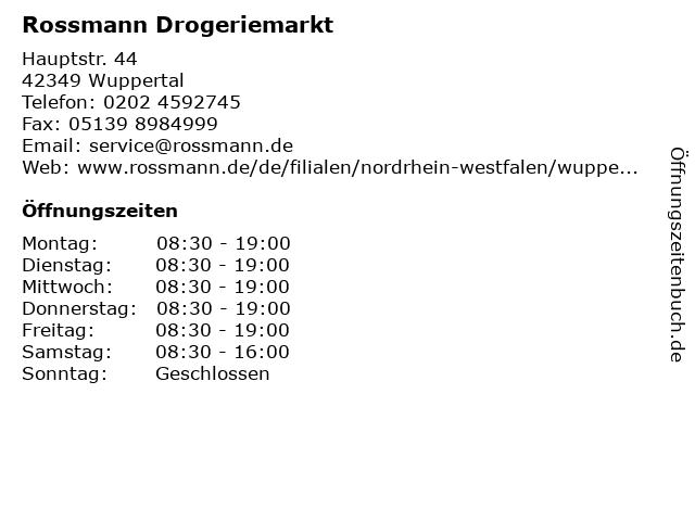Rossmann Drogeriemarkt in Wuppertal: Adresse und Öffnungszeiten