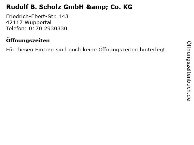 Rudolf B. Scholz GmbH & Co. KG in Wuppertal: Adresse und Öffnungszeiten