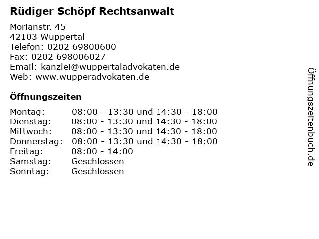 Rüdiger Schöpf Rechtsanwalt in Wuppertal: Adresse und Öffnungszeiten