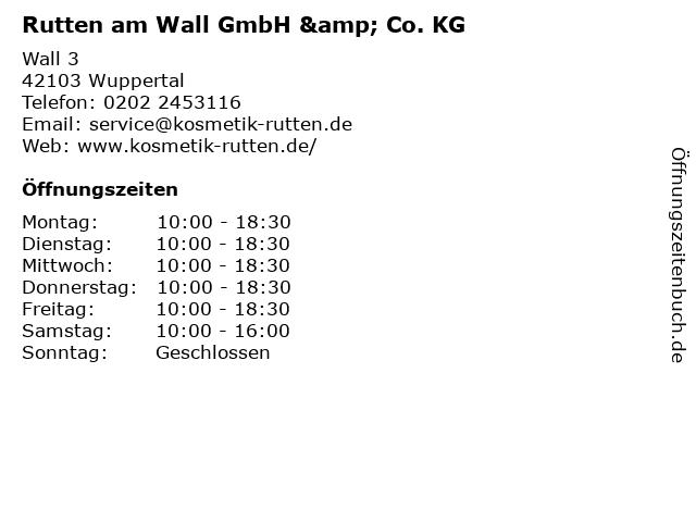 Rutten am Wall GmbH & Co. KG in Wuppertal: Adresse und Öffnungszeiten