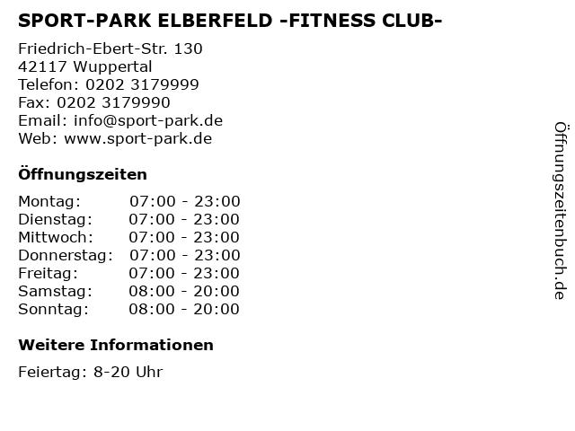 SPORT-PARK ELBERFELD -FITNESS CLUB- in Wuppertal: Adresse und Öffnungszeiten