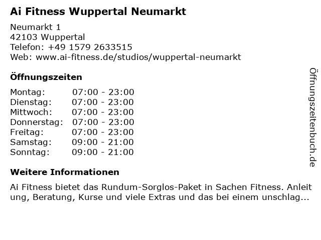 SPORT-PARK FITNESS HEALTH CLUB in Wuppertal: Adresse und Öffnungszeiten