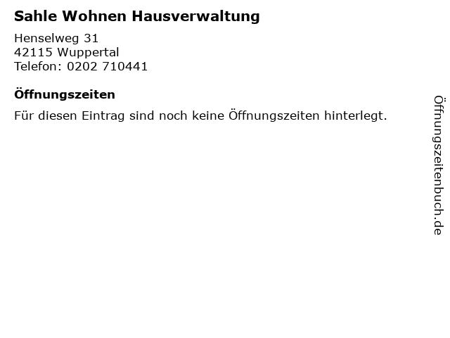 Sahle Wohnen Hausverwaltung in Wuppertal: Adresse und Öffnungszeiten