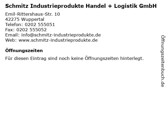 Schmitz Industrieprodukte Handel + Logistik GmbH in Wuppertal: Adresse und Öffnungszeiten