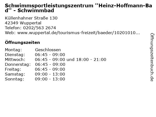 Schwimmsportleistungszentrum ''Heinz-Hoffmann-Bad'' - Schwimmbad in Wuppertal: Adresse und Öffnungszeiten