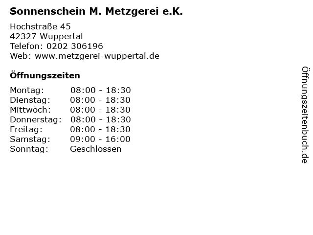 Sonnenschein M. Metzgerei e.K. in Wuppertal: Adresse und Öffnungszeiten