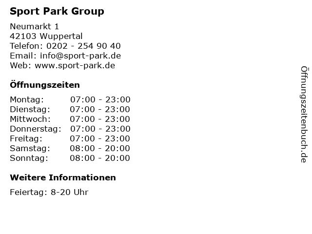 Sport Park Group in Wuppertal: Adresse und Öffnungszeiten