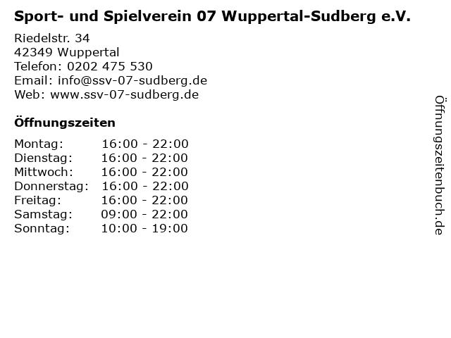 Sport- und Spielverein 07 Wuppertal-Sudberg e.V. in Wuppertal: Adresse und Öffnungszeiten