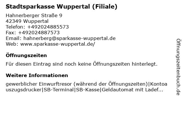 Stadtsparkasse Wuppertal - Filiale Hahnerberg in Wuppertal: Adresse und Öffnungszeiten