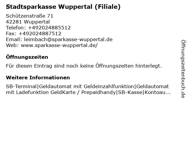 Stadtsparkasse Wuppertal - Filiale Leimbach in Wuppertal: Adresse und Öffnungszeiten