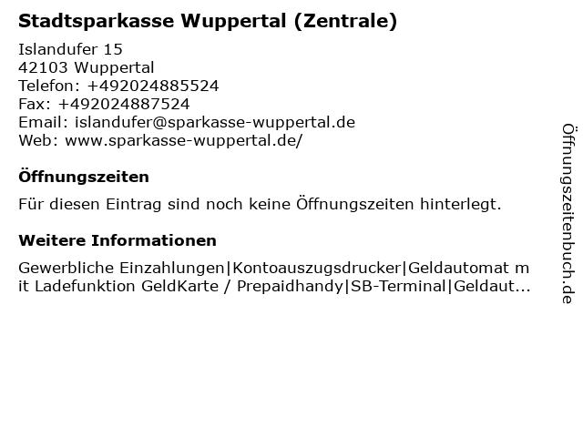 Stadtsparkasse Wuppertal - Filiale Islandufer in Wuppertal: Adresse und Öffnungszeiten