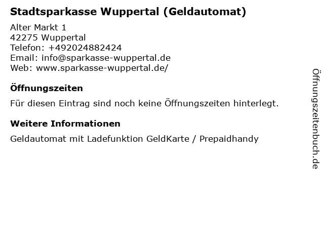 Stadtsparkasse Wuppertal - (Geldautomat Galerie Alter Markt) in Wuppertal: Adresse und Öffnungszeiten
