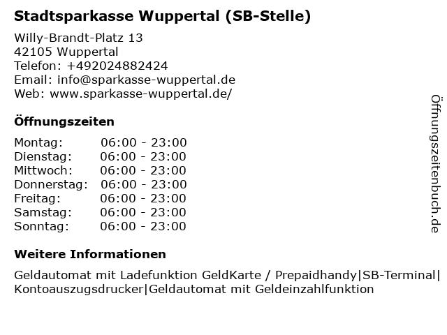 Stadtsparkasse Wuppertal - (Geldautomat Klotzbahn) in Wuppertal: Adresse und Öffnungszeiten