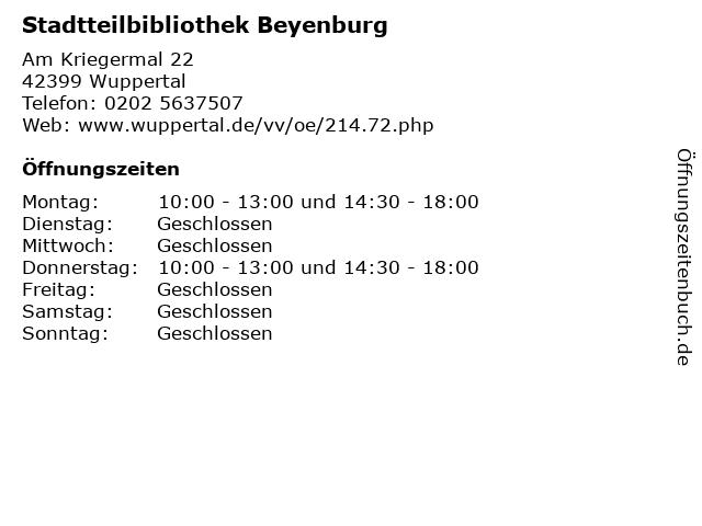 Stadtteilbibliothek Beyenburg in Wuppertal: Adresse und Öffnungszeiten